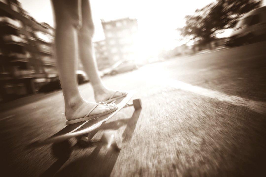 Crazy girl riding her longboard picjumbo com